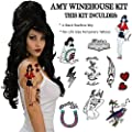 Amy Winehouse Temporary Tattoos and Wig Halloween Costume