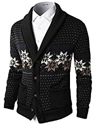 H2H Mens Casual Nordic Patterned Knited Shawl Collar Cardigan BLACK US S/Asia M (KMOCAL0105)