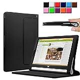 Infiland Lenovo タブレット YOGA Tablet 2 10 Windows 8.1 専用 10インチレザーケース 超薄型 超軽型 スマートケース 高級PU レザーカバー (Lenovo Yoga tablet 2 10 インチ, ブラック)