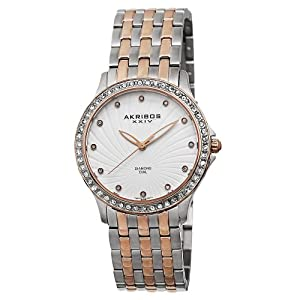 Akribos XXIV Women's AK620TT Lady Diamond Swiss Quartz Diamond and Crystal Rose-tone and Silver-tone Stainless Steel Bracelet Watch