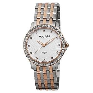 Akribos XXIV Women's AK620TT Lady Diamond Swiss Quartz Diamond and Crystal Rose-tone and Silver-tone Stainless Steel Bracelet Watch