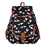 Vbiger Canvas Backpack for Women and Girls Boys Casual Book Bag Sports Daypack (Birds)