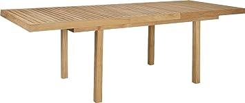 Habitat - Tiek Table de jardin à rallonge en teck - Naturel ...