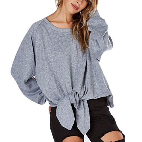 pullover damen lose rundhals langarmshirts sweatshirts tops l grau. Black Bedroom Furniture Sets. Home Design Ideas