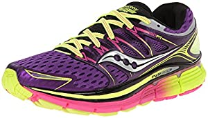 Saucony Women's Triumph ISO Running Shoe, Purple/Citron/Pink, 7 M US