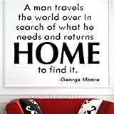 A Man Travels The World Over Wall Sticker George Moore Wall Decal Art available in 5 Sizes and 25 Colours Medium Mint