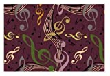 Virtuoso Music Notes Plum Purple - 8'x10' Custom Stainmaster Premium Nylon Carpet Area Rug ~ Bound Finished Edges