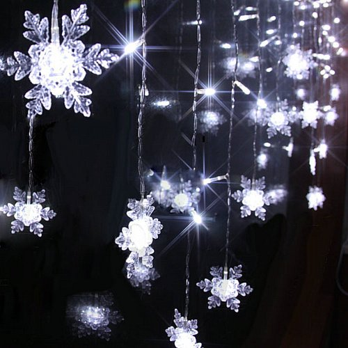 Angelbubbles Waterproof 8 Modes 2M(W)*1M(H) 104Pcs Led Fairy String Light Snowflake Shape Curtain Lighting For Garden Party Wedding Festival Decorative (Cold White 110V)
