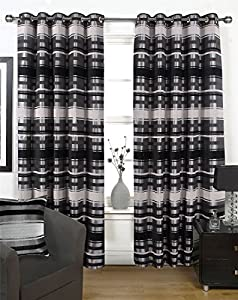 Chenille Striped Black Silver 66x72 Lined Ring Top Curtains #ortem *rap* by Curtains