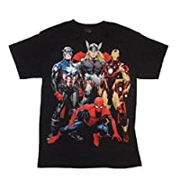 Marvel Spiderman Thor Captain America Iron Man Licensed Graphic Shirt (Black, Medium)