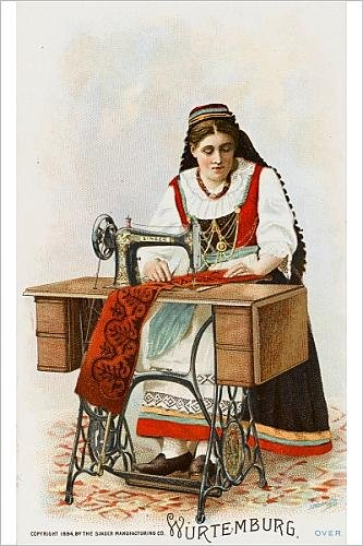 Photographic Print Of Lady From Wurtemburg Using A Singer Sewing Machine
