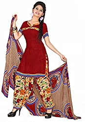Manthan Maroon Printed Un-Stitched Patiyala Suit
