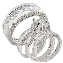 buy 4 Pcs 4.8Ct Princess Cubic Zirconia Bride And Groom Sterling Silver Wedding Ring Set Sz 7, 12