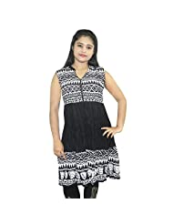 ABSTRA Girl's Cotton Small Zigzag Printed Sleeveless Kurti(Black And White_XL)
