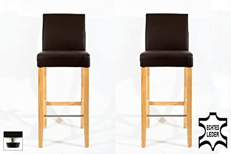 2x Barstools wood brown REAL LEATHER adjustable floor glides upholstery