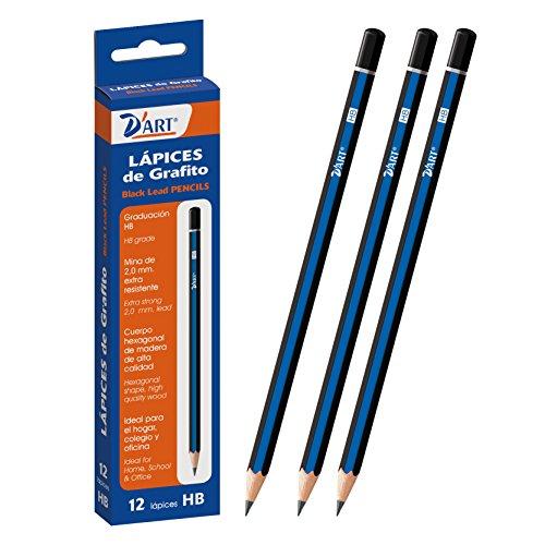 dart-79403-caja-de-12-lapices-de-grafito-hb-color-azul-negro