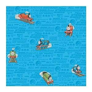 York Wallcoverings BT2909 Thomas The Train Wallpaper, Ocean Blue/Tangerine Orange/Lime Green/Stop Sign Red/Black Onyby