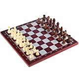Wooden Chess Set by SuperChessSet – Chess Set with Lightweight Folding Game Board, Well-Balanced Figures and Magnetic Lock, 11.2