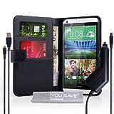 Yousave Accessories Coque HTC Desire 816 Etui Noir PU Cuir Portefeuille Housse Avec Chargement Micro USB Et Chargeur De Voiture
