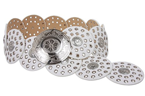 """BELTISCOOL 3 1/2"""" (90 mm) Wide Boho Discs Concho Leather Belt Size: M - 42 END-TO-END Color: White"""