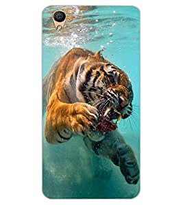 ColourCraft Hunting Tiger Design Back Case Cover for OPPO F1 PLUS