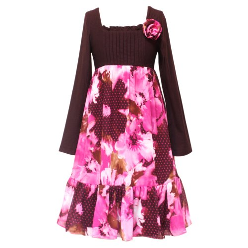 Size-8 RRE-53251F FUCHSIA-PINK BROWN KNIT 'Water Color Floral' PRINT CHIFFON OVERLAY Special Occasion Girl Party Dress,F453251 Rare Editions TWEEN GIRLS