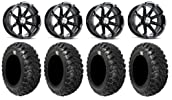 MSA Black Diesel 15″ ATV Wheels 30″ Kanati Mongrel Tires Can-Am Commander Maverick Renegade Outlander
