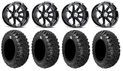 MSA Black Diesel 15″ ATV Wheels 30″ Kanati Mongrel Tires Arctic Cat Wild Cat
