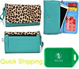 Teal and leopard print UNIVERSAL wallet wristlet for Motorola DROID RAZR HD XT925