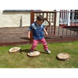 6 X Carved Wood Stepping Stones- 24cm x 7cm Great fun & a beautiful feature