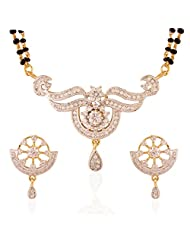 I Jewels Traditional Gold & Rhodium Plated CZ American Diamond Mangalsutra Set With Earrings For Women D0004