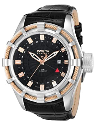Invicta Men's Reserve Bolt Swiss GMT Black Dial Leather Strap Watch 12714