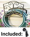 Decorative Garden Hose Holder. Wall Mount Hanger Including Spray Nozzle.