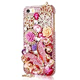 EVTECH(TM) for iPhone 5 / 5S T-Mobile Sprint AT&T Verizon 3D Handmade Bling Crystal Butterfly Fairy Girl Rhinestone Diamond Hard Case Cover(100% Handcrafted)