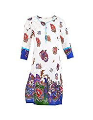 Karni Women's Cotton Blue & White Kurti
