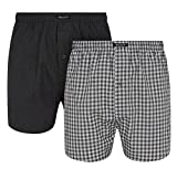 Wolsey 2-Pack Woven Check & Plain Men's Boxer Shorts, Grey Large