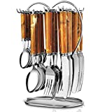 Pog Galaxy Brown Stainless Steel Cutlery Set With Stand 24 Pcs