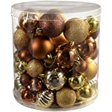 WeRChristmas 80-Piece Deluxe Variety Christmas Tree Baubles Decoration Pack, Brown/ Bronze/ Gold
