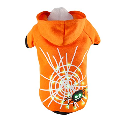 Royal Wise Fashion Pet Dog LED Light up Spider Hoodie Sweater Coat Clothes (S)
