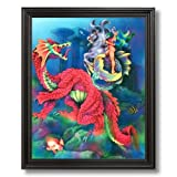 Dragon Magical Seahorse Kids Rooms Fantasy Home Decor Wall Picture Black Framed Art Print