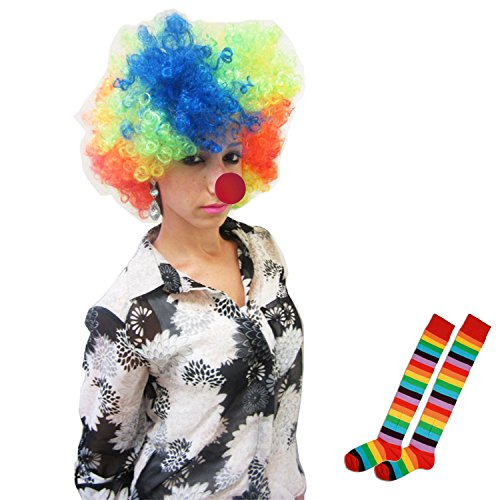 Adult Size Costume Set Wig Nose And Socks (Set of 3)