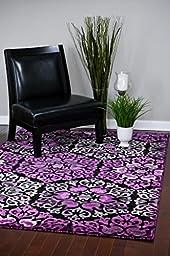 15007 Purple 5\'2 x 7\'2 Modern Abstract Area Rug Carpet