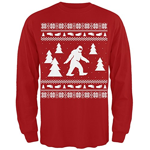 Sasquatch Ugly Christmas Sweater Red Long Sleeve T-Shirt - X-Large