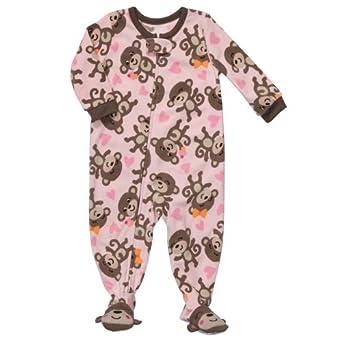 Amazon Com Carter S Footed Fleece Pajamas Pink Monkey