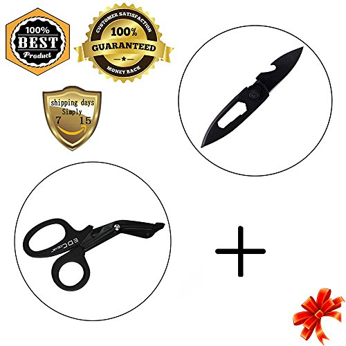 MeanHoo Field Cricket Free Lock Utility Emergency Folding Pocket Knife Blade & Heavy Duty Military style Medical First Aid Bandage