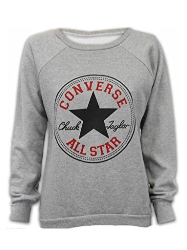 NEW LADIES WOMENS CONVERSE ALL STAR PRINT SWEATSHIRT JUMPER TOP 8-14 (M/L, grey)