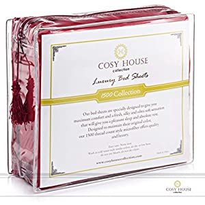 Cosy House Collection Silky Soft 4 pc Bed Sheet Set- High Quality 100% Microfiber- Wrinkle, Fade Free & Stain Resistant- Hypoallergenic- Luxury Fitted & Flat Sheets Plus Pillowcases (Burgundy, Queen)