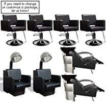 Hot Sale Havana Basics Black Collection - Four Stations featuring Four (4) Styling Chairs - Black w/Round Base, Two (2) Stockholm Shampoo Units Black w/ Black Bowl and VBK (White bowl is available) & Two (2) Havana Dryer Chairs - Black from SalonSmart