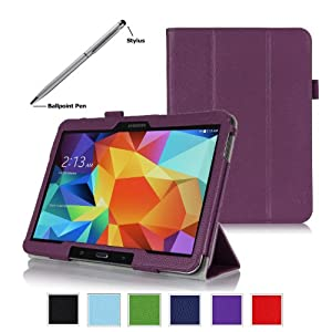 ProCase Samsung Galaxy Tab 4 10.1 Tablet Case with bonus stylus pen - Tri-Fold Smart Cover Case for 10 inch Galaxy Tab 4 (2014 released), with auto Sleep/Wake, Hand Strap, also compatible with Galaxy Tab 3 10.1 (Purple)