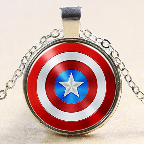 Superhero Captain America Shield Glass Photo Art Pendant Chain Necklace Color Silver (Daisy Duck Girls Costume)